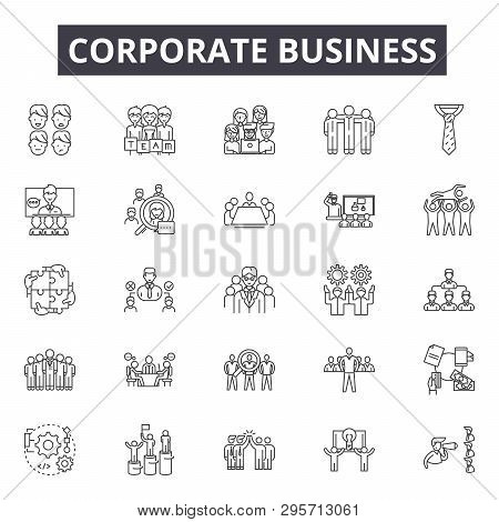 Corporate Business Line Icons, Signs Set, Vector. Corporate Business Outline Concept, Illustration: