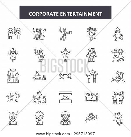 Corporate Entertainment Line Icons, Signs Set, Vector. Corporate Entertainment Outline Concept, Illu