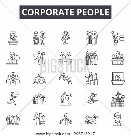 Corporate People Line Icons, Signs Set, Vector. Corporate People Outline Concept, Illustration: Soci