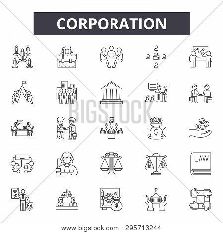 Corporation Line Icons, Signs Set, Vector. Corporation Outline Concept, Illustration: Business, Corp