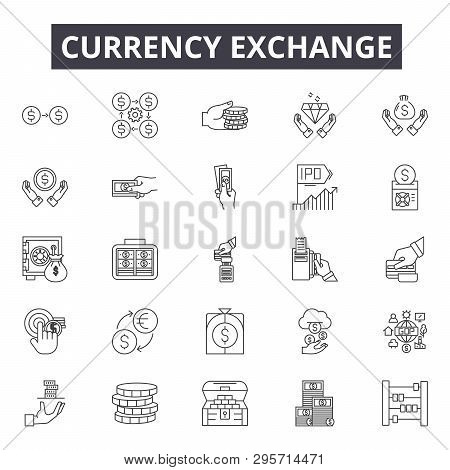 Currency Exchange Line Icons, Signs Set, Vector. Currency Exchange Outline Concept, Illustration: Cu