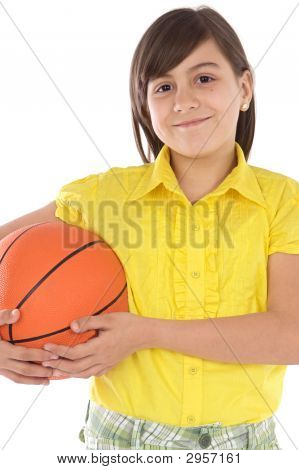 Girl Whit Ball Of Basketball