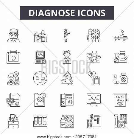 Diagnose Line Icons, Signs Set, Vector. Diagnose Outline Concept, Illustration: Medical, Diagnose, H