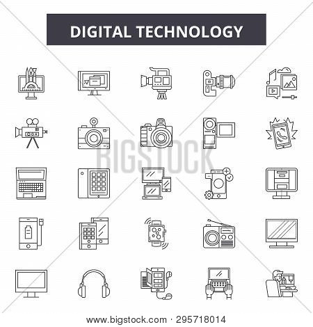 Digital Technology Line Icons, Signs Set, Vector. Digital Technology Outline Concept, Illustration: