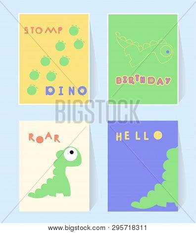 Hello Dino Print Card For Invation Birthday Party. Dinosaurs Stomp, Roar. Poster In Scandinavian Sty