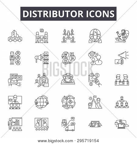 Distributor Line Icons, Signs Set, Vector. Distributor Outline Concept, Illustration: Distributor, D
