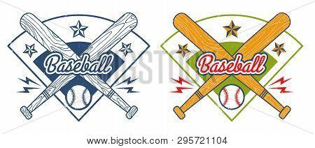 Vector Sport Logo For Baseball With Bats And Ball. Vintage Vector Emblem For Baseball.