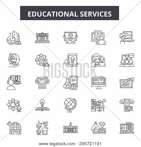 Educational Services Line Icons, Signs Set, Vector. Educational Services Outline Concept, Illustrati