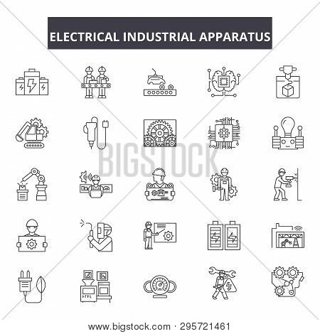 Electrical Industrial Apparatus Line Icons, Signs Set, Vector. Electrical Industrial Apparatus Outli