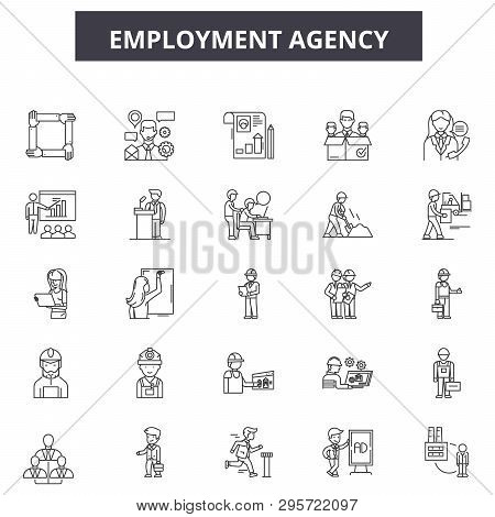 Employment Agency Line Icons, Signs Set, Vector. Employment Agency Outline Concept, Illustration: Em