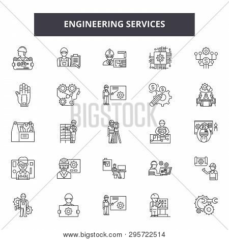 Engineering Service Line Icons, Signs Set, Vector. Engineering Service Outline Concept, Illustration