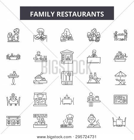 Family Restaurants Line Icons, Signs Set, Vector. Family Restaurants Outline Concept, Illustration: