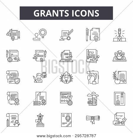 Grants Line Icons, Signs Set, Vector. Grants Outline Concept, Illustration: Grant, Flat, Debank, Bus