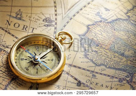 Antique Compass On Antique Map With Big Word India