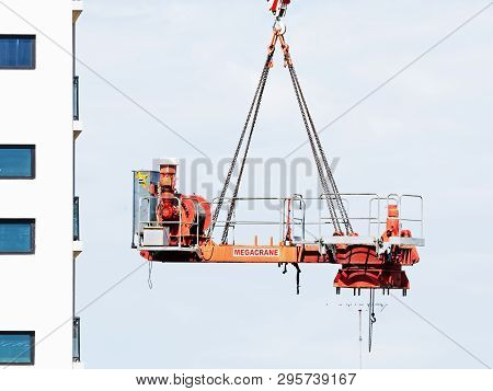 Gosford, New South Wales, Australia - April  9, 2019: The Disassembly Of A Tower Crane From New Home