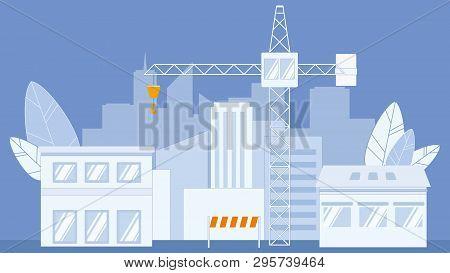 Construction Industry Flat Vector Illustration. Industrial Cargo Crane. Orange Stop, Warning Barrier