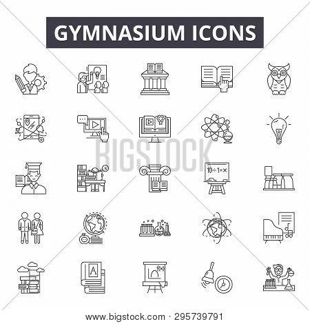 Gymnasium Line Icons, Signs Set, Vector. Gymnasium Outline Concept, Illustration: Gymnasium, Gym, Ex