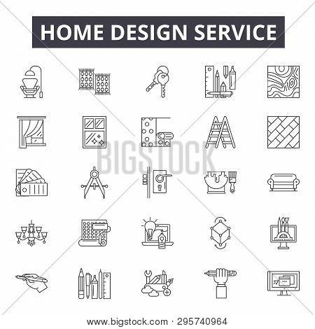 Home Design Service Line Icons, Signs Set, Vector. Home Design Service Outline Concept, Illustration