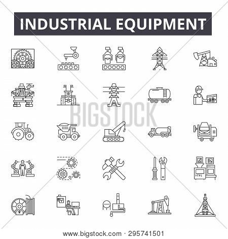 Industrial Equipment Line Icons, Signs Set, Vector. Industrial Equipment Outline Concept, Illustrati