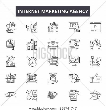 Internet Marketing Agency Line Icons, Signs Set, Vector. Internet Marketing Agency Outline Concept,