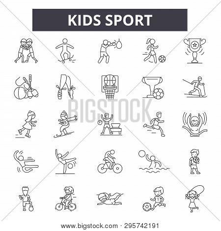 Kids Sport Line Icons, Signs Set, Vector. Kids Sport Outline Concept, Illustration: Sport, Kid, Acti
