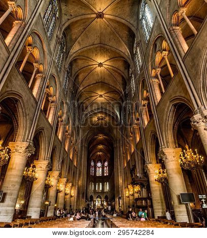 Paris, France, March 27, 2017: Interior Of The Notre Dame De Paris. The Cathedral Of Notre Dame Is O