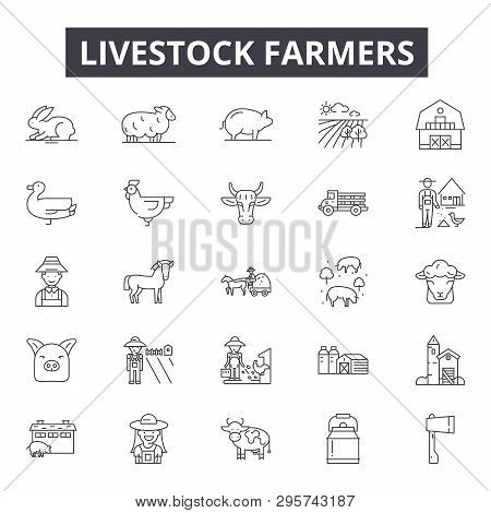 Livestock Farmers Line Icons, Signs Set, Vector. Livestock Farmers Outline Concept, Illustration: Fa