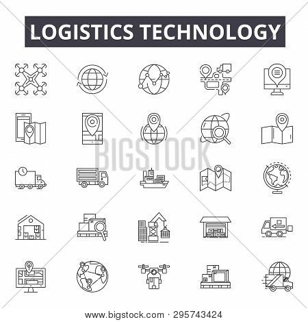 Logistics Technology Line Icons, Signs Set, Vector. Logistics Technology Outline Concept, Illustrati