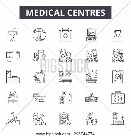 Medical Centres Line Icons, Signs Set, Vector. Medical Centres Outline Concept, Illustration: Hospit