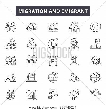 Migration Emigrant Line Icons, Signs Set, Vector. Migration Emigrant Outline Concept, Illustration: