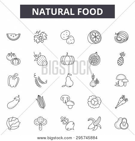 Natural Food Line Icons, Signs Set, Vector. Natural Food Outline Concept, Illustration: Food, Natura