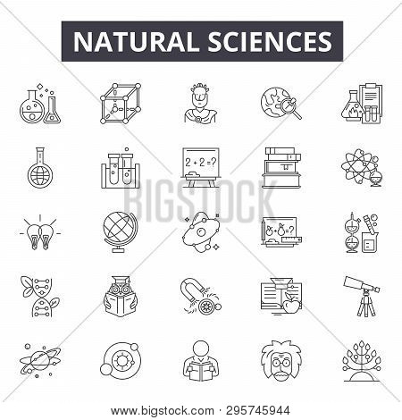 Natural Sciences Line Icons, Signs Set, Vector. Natural Sciences Outline Concept, Illustration: Scie