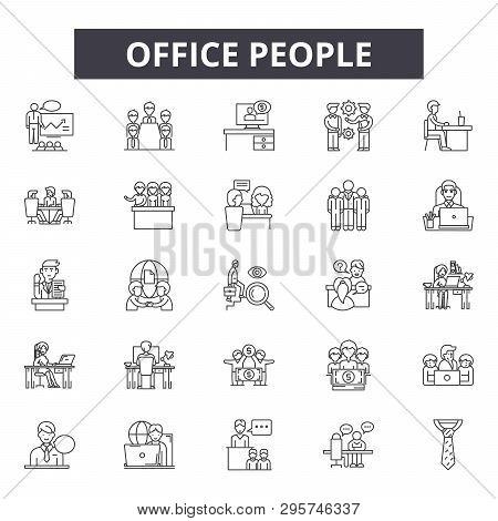Office People Line Icons, Signs Set, Vector. Office People Outline Concept, Illustration: Person, Bu