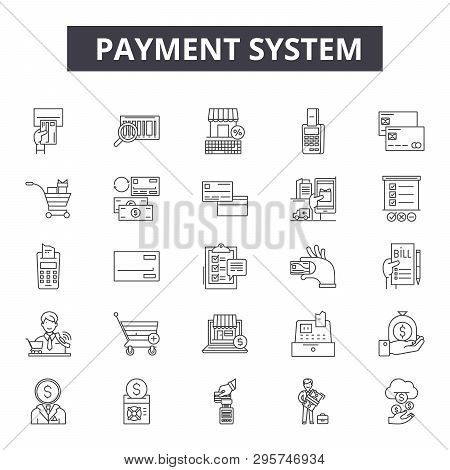 Payment System Line Icons, Signs Set, Vector. Payment System Outline Concept, Illustration: Payment,