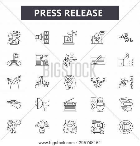 Press Release Line Icons, Signs Set, Vector. Press Release Outline Concept, Illustration: Press, Med