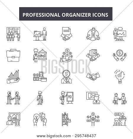 Professional Organizer Line Icons, Signs Set, Vector. Professional Organizer Outline Concept, Illust
