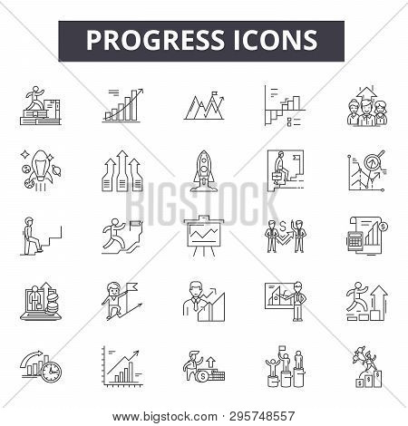 Progress Line Icons, Signs Set, Vector. Progress Outline Concept, Illustration: Progress, Graphic, D