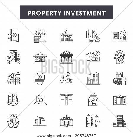 Property investment line icons, signs set, vector. Property investment outline concept, illustration: property, business, investment, concept, estate, house poster