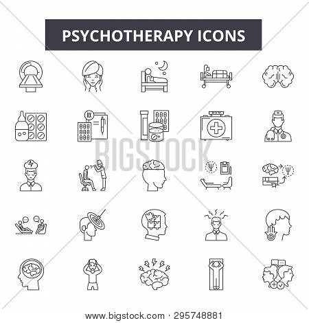 Psychotherapy Line Icons, Signs Set, Vector. Psychotherapy Outline Concept, Illustration: Psychother
