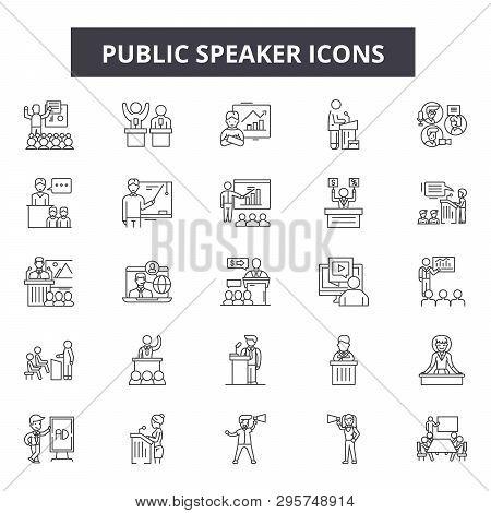 Public Speaker Line Icons, Signs Set, Vector. Public Speaker Outline Concept, Illustration: Speaker,