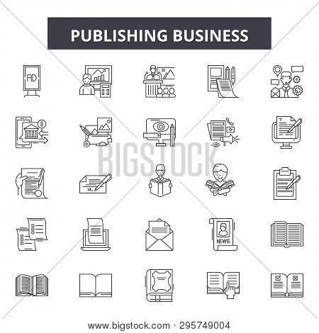 Publishing Business Line Icons, Signs Set, Vector. Publishing Business Outline Concept, Illustration