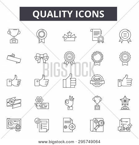 Quality Line Icons, Signs Set, Vector. Quality Outline Concept, Illustration: Quality, Best, Mark, C