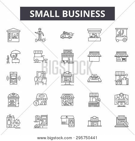 Small Business Line Icons, Signs Set, Vector. Small Business Outline Concept, Illustration: Business