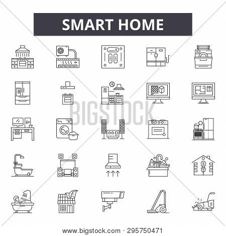 Smart Home Line Icons, Signs Set, Vector. Smart Home Outline Concept, Illustration: Home, Technology