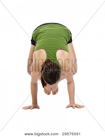 woman balancing on hands, doing yoga, with clipping path