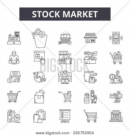 Stock Market Line Icons, Signs Set, Vector. Stock Market Outline Concept, Illustration: Business, Fi
