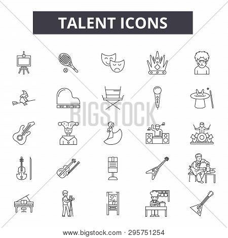 Talent Line Icons, Signs Set, Vector. Talent Outline Concept, Illustration: Talent, Human, Business,