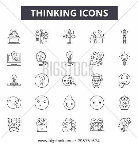Thinking Line Icons, Signs Set, Vector. Thinking Outline Concept, Illustration: Idea, Think, Busines