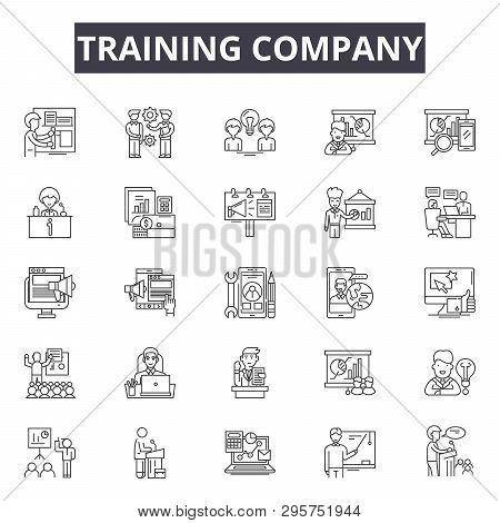 Training Line Icons, Signs Set, Vector. Training Outline Concept, Illustration: Training, Seminar, L