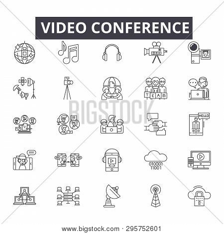 Video Conference Line Icons, Signs Set, Vector. Video Conference Outline Concept, Illustration: Vide